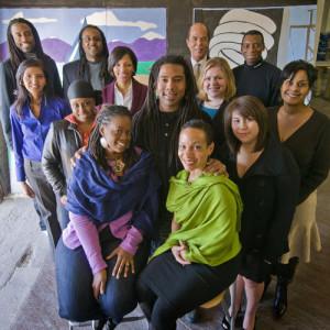 Reginald Adams, center, with MOCAH supporters, 2011. Photo: Jeffrey Myers/Houston Press