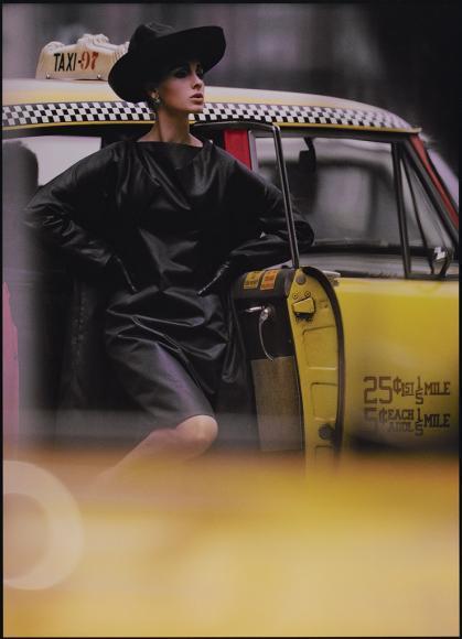 William Klein (b.1928) Antonia + Yellow Cab, Tuffeau & Bush, New York, 1962 Dye coupler print © William Klein, courtesy Howard Greenberg Gallery