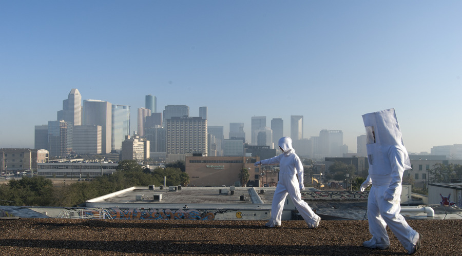 Carrie Schneider and Alex Tu exploring Houston on the Human Tour, 2013. Photo: Lillie Monstrum