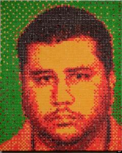 "Denver artist Andy Bell's Fear Itself. Skittles on plywood, photo"" RedLine Gallery."