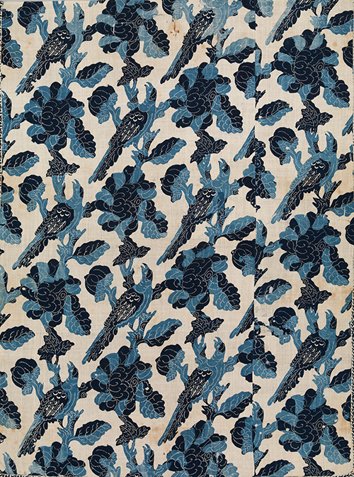 Blue-Resist Panel. Probably India, for the American market, mid-18th Century. Cotton, painted and block-printed resist, dyed, 78 ¼ x 59 5/8 in. (198.6 x 151.4 cm). The Metropolitan Museum of Art, Rogers Fund, 1940