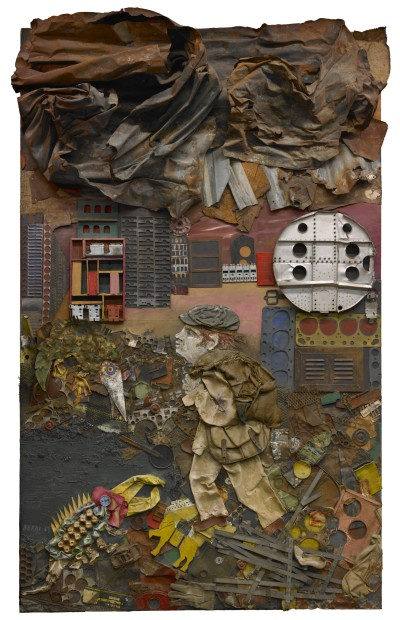 Juanito va a la Ciudad (Juanito Goes to the City), 1963, wood, paint, industrial trash, cardboard, scrap metal, and fabric collage on board