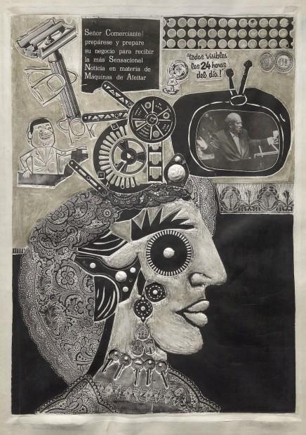 Ramona en la calle, de la serie Ramona Montiel y sus amigos (Ramona in the Street, from the series Ramona Montiel and Her Friends), 1966, xylo-collage-relief