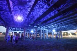 Ballroom Luminoso, I-35 underpass, commissioned by DCCD/Public Art San Antonio. Photo: Fred Gonzales/City of San Antonio