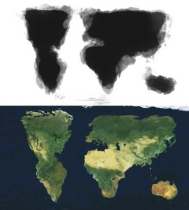All 30 drawings overlaid and the satellite map manipulated to create the same shape