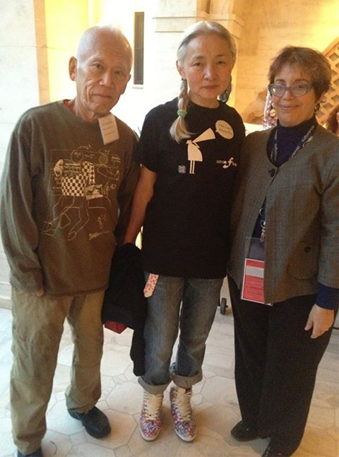 Ushio and Noriko Shinohara with Marian Luntz, MFAH curator of film and video