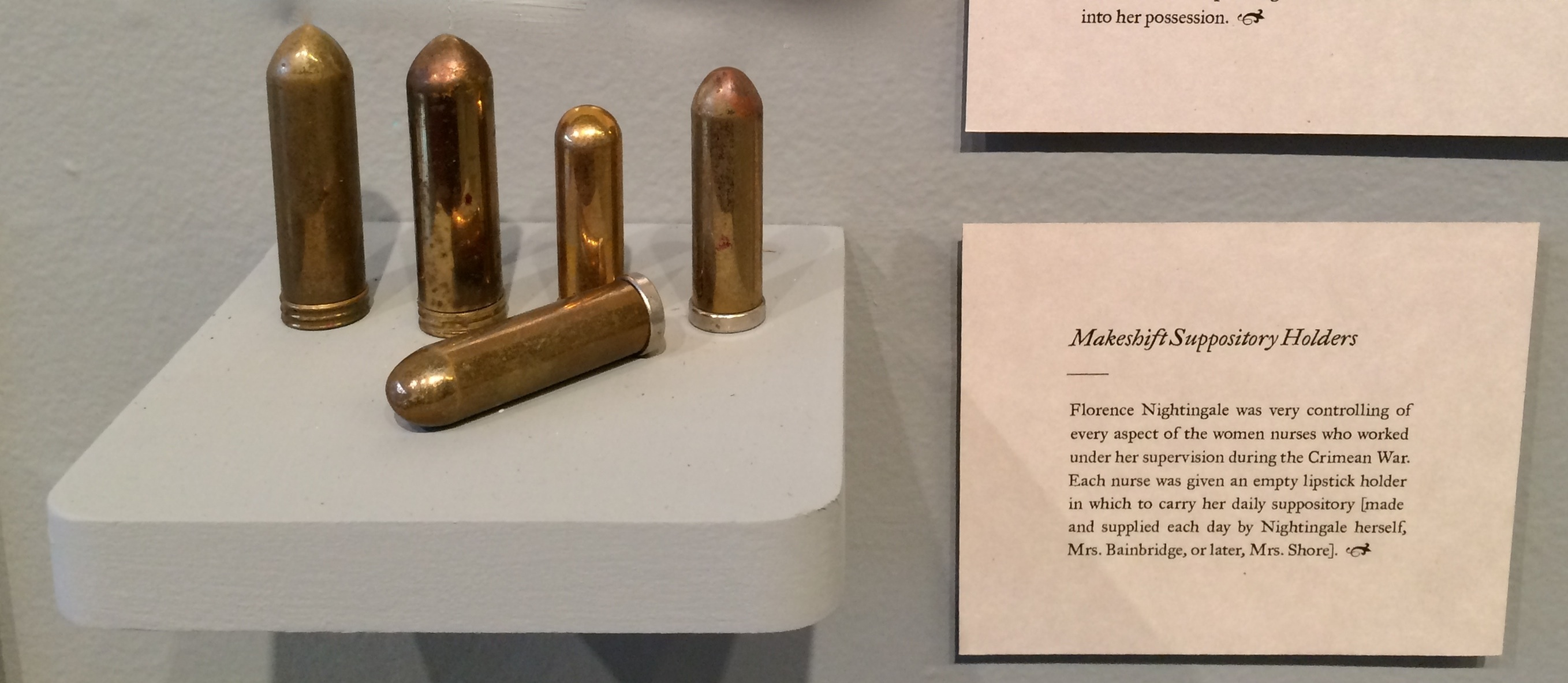 artifacts from the adventures of florence nightingale collected by makeshift suppository holders