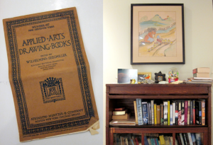 Day is greatly inspired by his grandmother, who created this book on applied arts and drawing and was a children's illustrator. One of her illustrations hangs above the bookcase.
