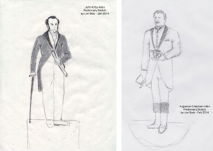 """Renderings of the Allen brothers statues by Lori Betz, which she says are """"still in the sketching phases."""""""