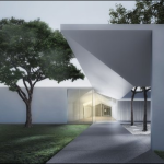 Menil Drawing Institute at dusk, looking past the west entrance courtyard. (Johnston Marklee / The Menil Collection)