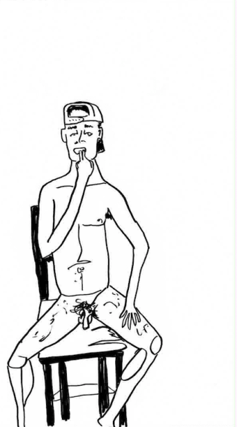 Tori Whitehead, Generic Hat Guy ( Like Girl Porn ), 2013 hand drawn animation. courtesy of The Reading Room