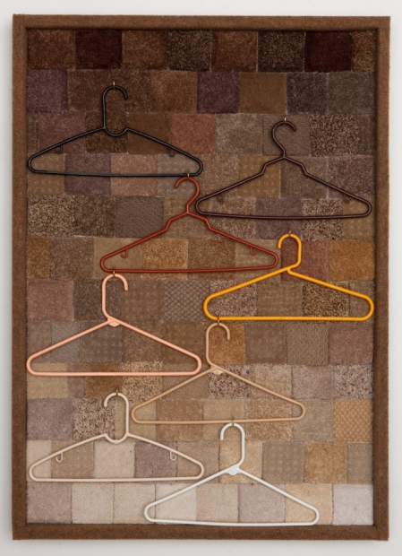 "Specimens (Back to Nature) Carpet samples, plastic hangers, wood, hardware 45"" x 34"""