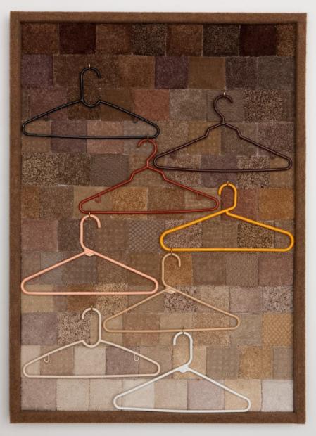 "Specimens (Back to Nature) Carpet samples, plastic hangers, wood, hardware 45"" x 34"""