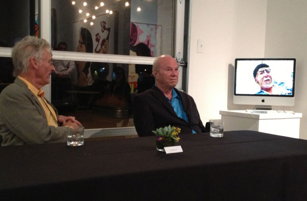 Ed Ruscha, James Rosenquist and Theo Wujcik (on monitor). Galleri Urbane, Dallas, February 21, 2014.