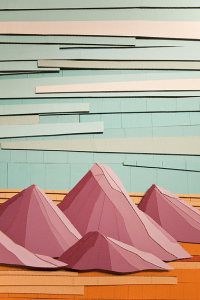 Landry McMeans, Mountains, cardboard relief with acrylic, 2012