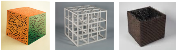 LeWitt, Cube with Random Holes… 1964; LeWitt, 3 x 3 x 3, 1965; Hesse, Accession V, 1968