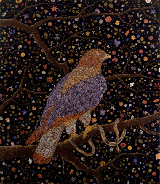Fred Tomaselli, Avian Flower Serpent, 2006, Leaves, photomontage, acrylic, gouache, and resin on wood panel, 84 x 72 ½ inches