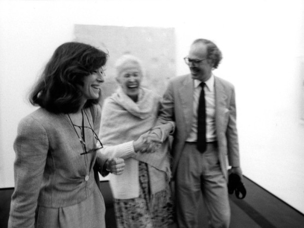 Mrs. De Menil (center) at the 1987 opening of the Menil Collection, Houston