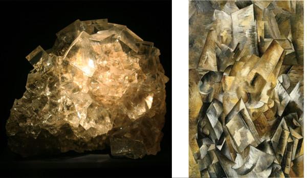 "(r) Elbaite & Quartz, Tourmaline Queen Mine, San Diego County, CA (r) Georges Braque, ""Still Life with Mandola and Metronome, 1909"