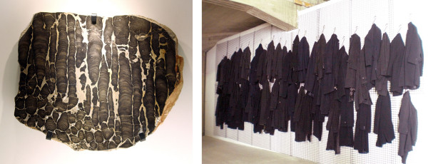 (l) Stromatolite, Proterozoic, Alice Springs, Australia (r) Jannis Kounellis installation at the Teatro Margherita, 2010