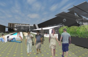 A rendering of how the ArtBarn could be incorporated into new plans for the UTD campus.