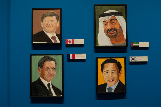Portraits of (clockwise from bottom left) former  President Nicolas Sarkozy of France, Prime Minister Stephen Harper of Canada, the crown prince of Abu Dhabi, Mohammed bin Zayed, and the former president of South Korea, Lee Myung-bak. All were painted by former President George W. Bush. Credit Brandon Thibodeaux for The New York Times