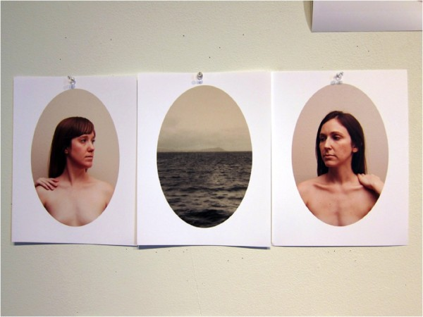 Family portrait. From left to right: Emily Peacock, a print of a vintage photo given to Emily as a gift, and Emily's sister Sara Peacock