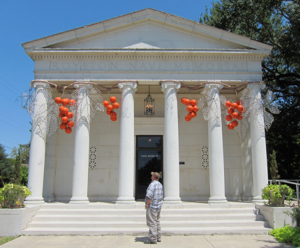 Mel Chin, Temple of the New Gods, 2011 steel, polypropylene rope, basketball nets, basketballs, paint dimensions variable
