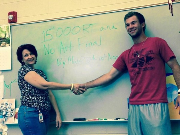 Round Rock Hogh School senior Andrew Muennink plays a social media numbers game with his art history teacher.
