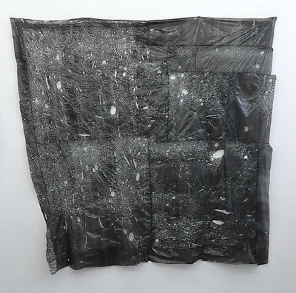 Untitled, 2014. Trash bags and glue.