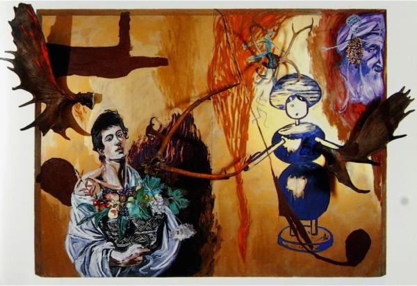"Julian Schnabel, Exile, 1980. Oil, antlers on wood. 90 x 120"""