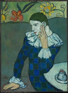 Pablo Picasso, Seated Harlequin, 1901, oil on canvas, © 2014 Estate of Pablo Picasso / Artists Rights Society (ARS), New York