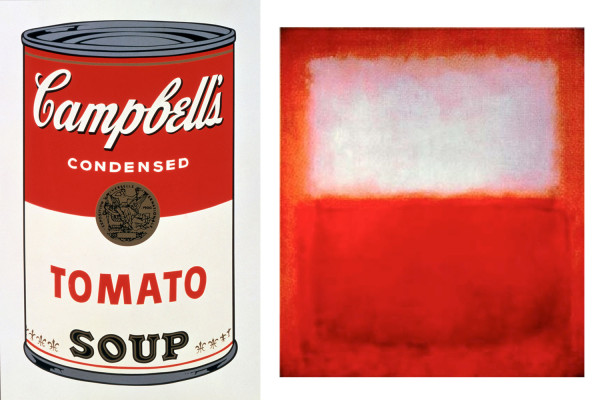 l: Andy Warhol,  r: Mark Rothko, White over Red, 1957