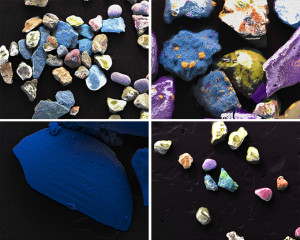 Donald Weber, clockwise from top: Gold Beach, Sample #213, (Assorted Shrapnel, Seashell and Glass), Sector Jig, Red; Omaha Beach, Sample #144 (Assorted Shrapnel, Seashell and Glass), Sector Dog, White; Juno Beach, Sample #073 (Shrapnel Fragment), Sector Nan, Green; Juno Beach, Sample #016 (Assorted Shrapnel), Sector Nan, Green, all from 2013. Photo via Circuit Gallery.
