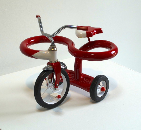 "We all get a little sidetracked (mini trike) 2014, Mini-tricycle, metal, plastic, automotive paint, 11"" x 8"""