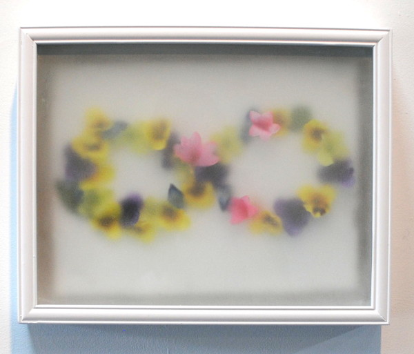"<em>Infinite Chapters</em> 2014, Frosted shadow box and faux flowers, 12 1/4"" x 15"""