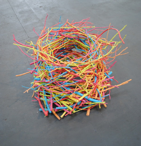 "Sergio Garcia, Richard Ross, Mark Nelson, <em>The Nest</em>. Sticks and enamel, 27"" x 39"""