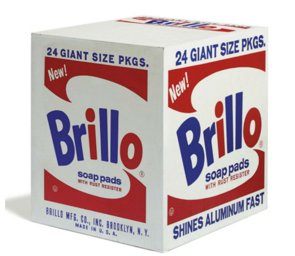 Andy Warhol, Brillo Soap Pads, silkscreen ink on plywood, 20 x 20 x 17 in.,  Executed in 1964-1969