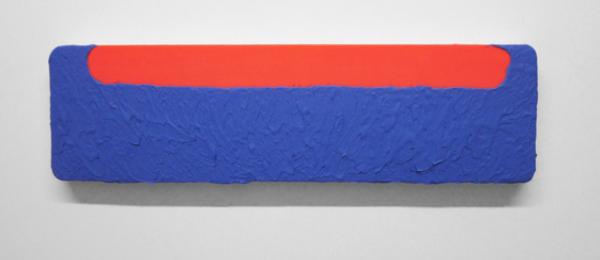 Bret Slater, <em>Driggs</em>, 2014. Acrylic on canvas, 22.8 x 76.8 cm.