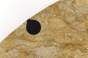 Simon Starling, Transit Stones, 2012, royal yellow and black Belgian marble, the Museum of Fine Arts, Houston, Museum purchase funded by contemporary@mfah and the Caroline Wiess Law Accessions Endowment Fund. Photograph © The Museum of Fine Arts, Houston. © Simon Starling and Galleria Franco Noero, Turin.