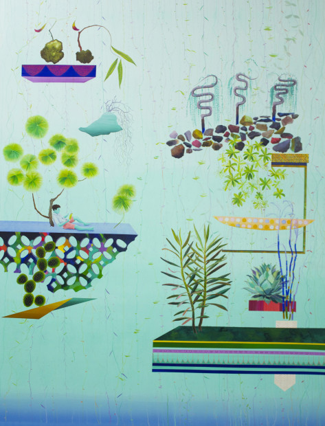 "Celan Bouillet,<em>Hanging Gardens</em>, 2014. Acrylic on canvas, 72"" x 56"""
