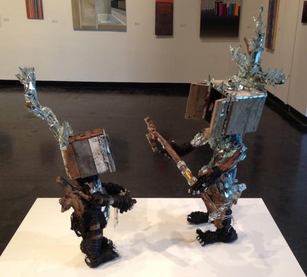 Mack Bishop III, <em>Earth Child 1 & 2</em>, 2014. Driftwood, mirror, wire and board, 3' x 2' x 5'