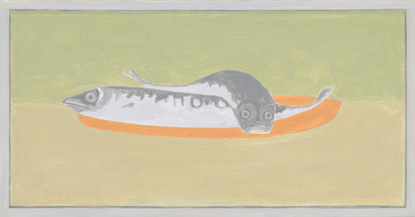 Francesca Fuchs, <em>Framed Painting: Chackas Fish</em>, 2012,  Acrylic on canvas, 17 x 32.5""