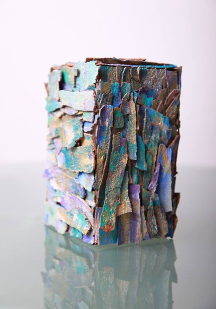 "Eva Graf, <em>The Cube</em>, 2013 Mixed media, 15"" x 18"" x 18"""