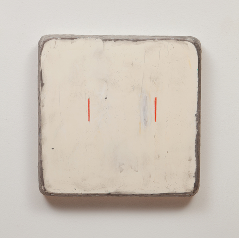 Otis Jones, Two Lines One Moved, 2014. Acrylic on canvas 24 x 24 x 3½