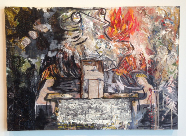 "Jenn Fox, <em>Last Dinner at the Burning House</em>, 2013 Oil, handmade paper, wood, ink and acetone transfer on canvas, 28"" x 20"""