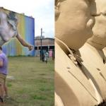 Houston Public Media crew on site at Houston's largest mural. Image via houstonmatters.org. Right: David Adickes' presidents.