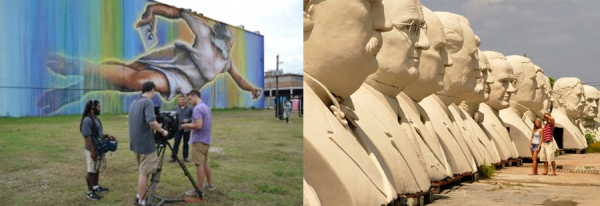 Houston Public Media crew on site at Houston's largest mural. Image via houstonmatters.org. Right: David Adickes' presidents.