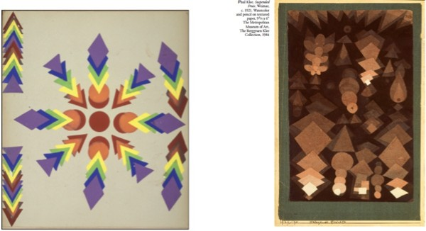 US Kindergarten teacher Irma Crawford, 1909 (left) made with seventh gift (paper parquetry), Paul Klee, 1921 (right)