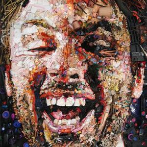 Trash art self portrait by Tom Deninger